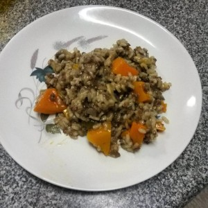 Beef, butternut and mushroom risotto