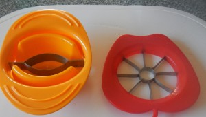 on the left a mango slicer and on the right an apple slicer and corer