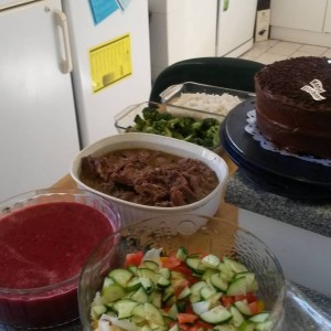 Salad, gazpacho, lemon and herb roast, rice and veg and a chocolate cake for dessert