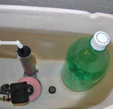 Put a brick or weighted bottled to use less water when flushing