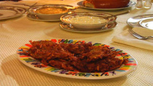 Latkes, these potato pancakes are a traditional food for Chanuakah