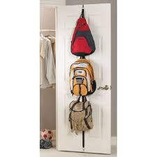 put up hooks on a wall or the back of a cupboard door, for school bags