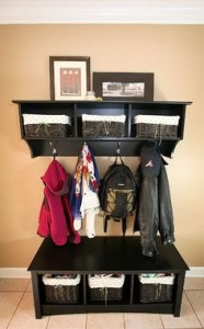 Coat hooks and bags as well as space for storing smaller items