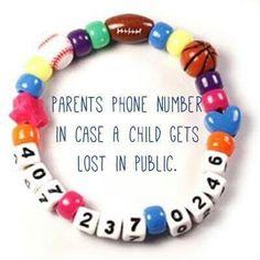 Kids safety contact bracelet