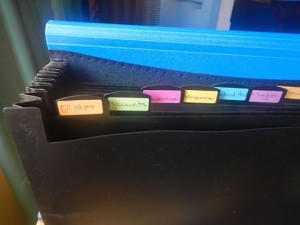 I use this filing system for the month and then clear it into a file when the month is over