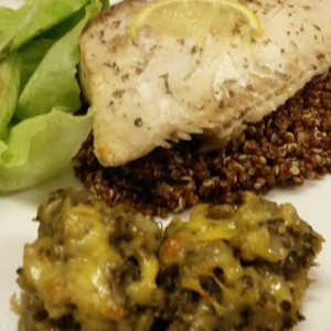 Baked Angel fish, served with salad, red quinoa and baked brinjal mash