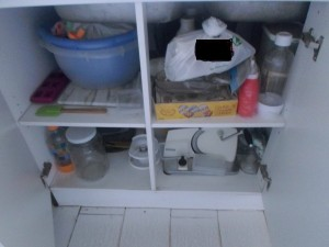 My cleaning products are not kept under the kitchen sink, this was for safety reasons when the kids were small.
